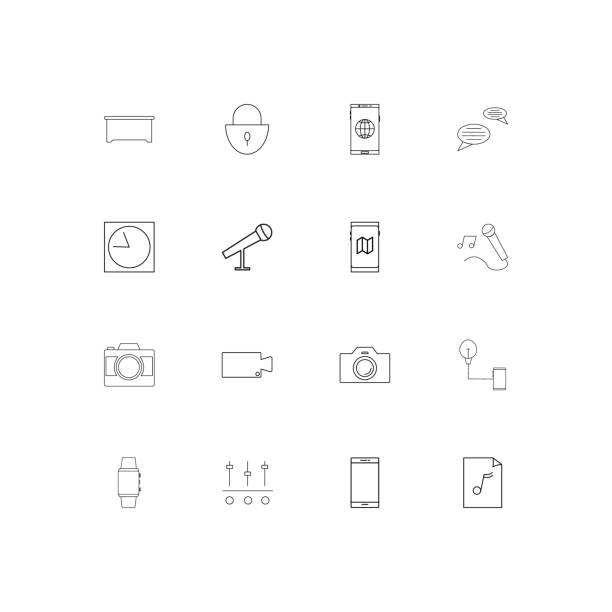 Devices simple linear icons set. Outlined vector icons vector art illustration