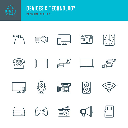 Devices & Technology - set of thin line vector icons