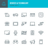 Set of 20 Devices & Technology thin line vector icons. Laptop, Smart Phone, Microphone, Computer, TV, Video Camera and so on