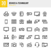 Devices & Technology set of 30 thin line vector icons.
