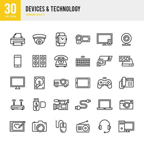 devices & technology - thin line icon set - electronics stock illustrations, clip art, cartoons, & icons