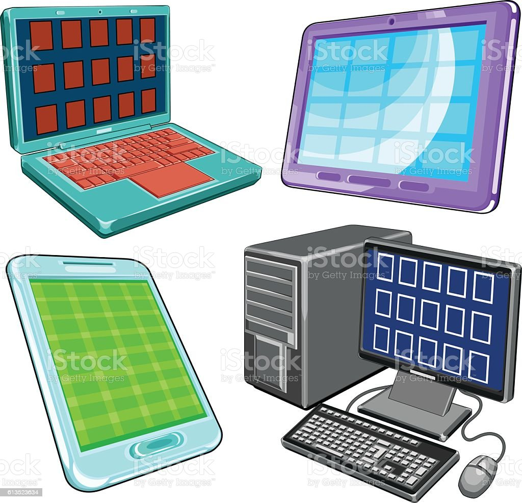 Devices vector art illustration