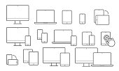 Devices line icons for responsive design. Vector set of mobile phone or smartphone, computer laptop or tab pad and electronic appliances