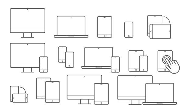 Devices vector line icons for responsive design Devices line icons for responsive design. Vector set of mobile phone or smartphone, computer laptop or tab pad and electronic appliances desktop pc stock illustrations