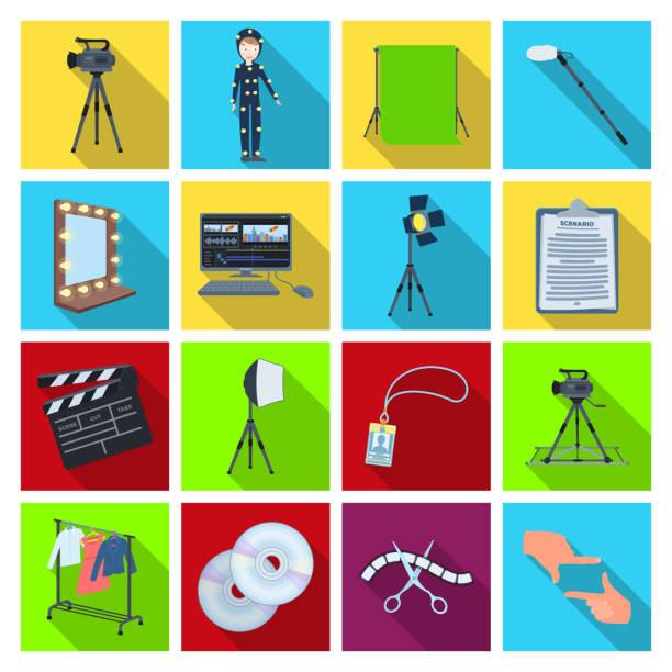 stockillustraties, clipart, cartoons en iconen met devicesmaking een film plat pictogrammen in instellen collectie voor design. kenmerken en uitrusting vector symbool voorraad web illustratie. - green screen
