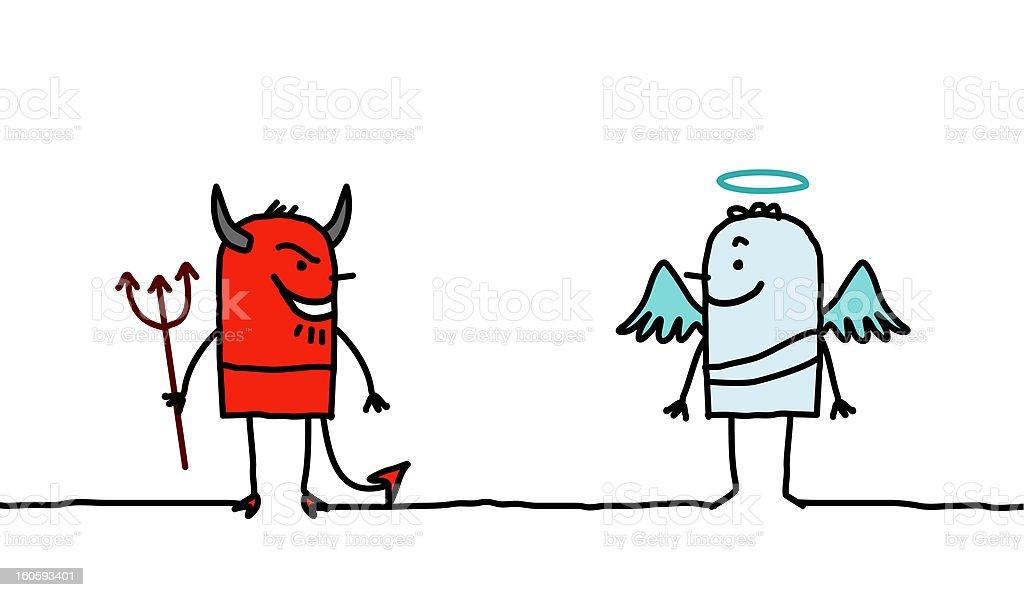 Devil & Angel vector art illustration