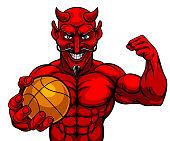 A devil Satan basketball sports mascot cartoon character man holding a ball
