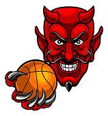 A devil cartoon character sports mascot holding a basketball ball