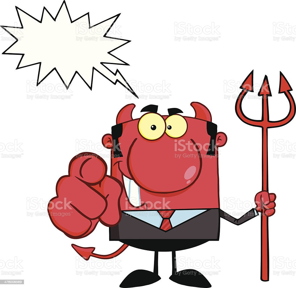 Devil Boss With A Trident And Pointing Finger royalty-free stock vector art