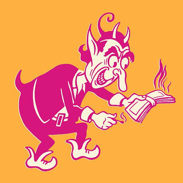 devil burning money - evil money stock illustrations, clip art, cartoons, & icons