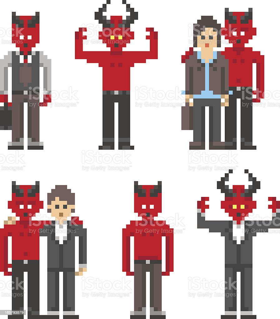 Devil Character in Pixel Art Style royalty-free devil character in pixel art style stock vector art & more images of 1980-1989