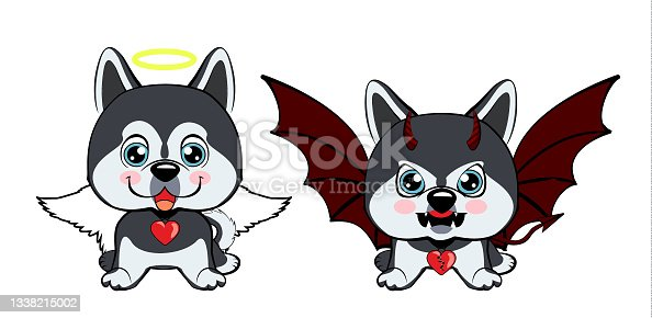 istock Devil Dog with horns and bat wings and happy dog angel. 1338215002