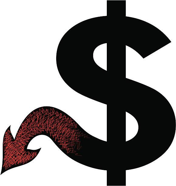 devil dollar - evil money stock illustrations, clip art, cartoons, & icons