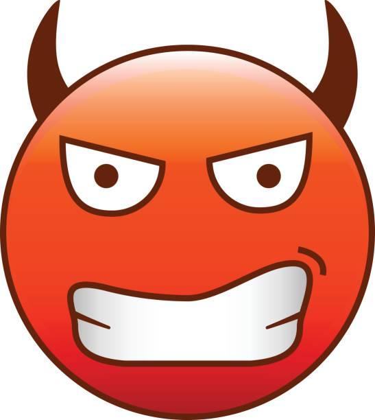 ilustrações, clipart, desenhos animados e ícones de emoticon do diabo. - emoji ciumento