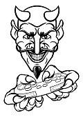 A devil cartoon character player gamer esports sport mascot holding a video games controller
