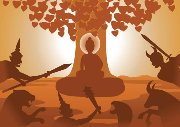 lucha de diablo al Señor de Buda para detener para aclarar después de que se perdieron al Señor, biografía de Buda, diseño de silueta - ilustración de arte vectorial