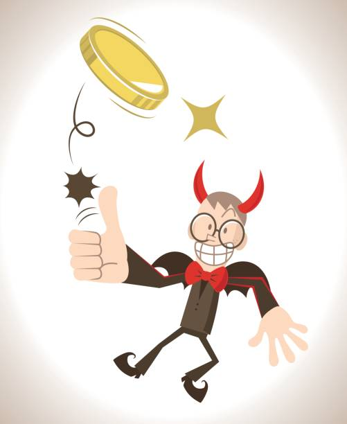 devil flying flipping a coin (toss up gold currency), thumbs up gesturing - evil money stock illustrations, clip art, cartoons, & icons