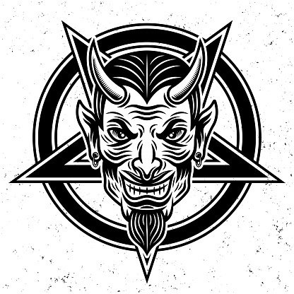Devil head and pentagram star vector illustration in monochrome style isolated on white background