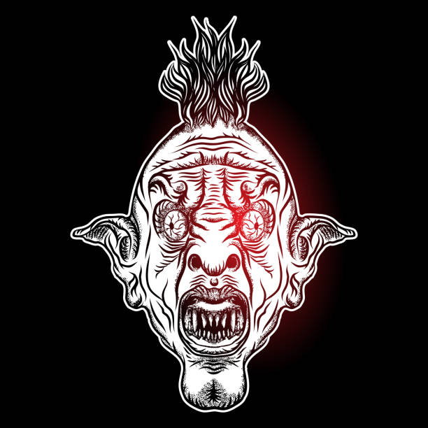 teufel kopf abbildung. alptraum inspirierten satanischen einfluss punk-gesicht mit mohawk, dunkle wendung gesicht geste. besessen von dämonen, rock-maskottchen. vektor. - langhaarspitzen stock-grafiken, -clipart, -cartoons und -symbole