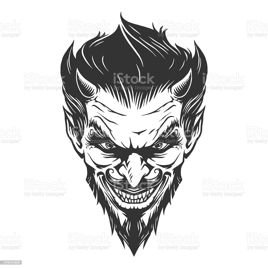 Devil head illustration vector art illustration