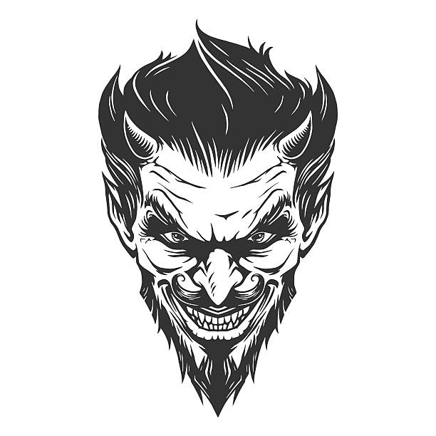 illustrations, cliparts, dessins animés et icônes de devil head illustration - tatouages de crânes