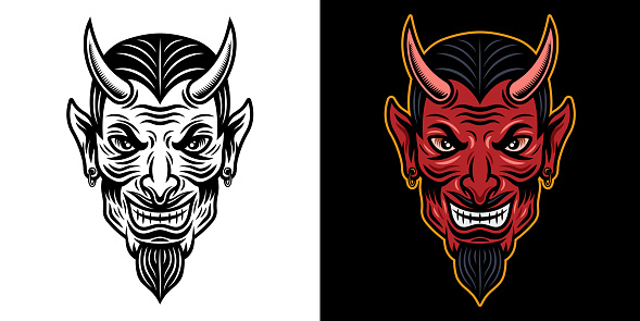 Devil head in two styles black on white and colorful on dark background vector illustration