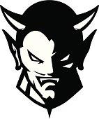 Stylized powerful devil mascot, black and white version.