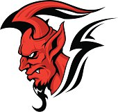 Stylized red devil head. Good for tattoo. CorelDRAW 10 file attached.