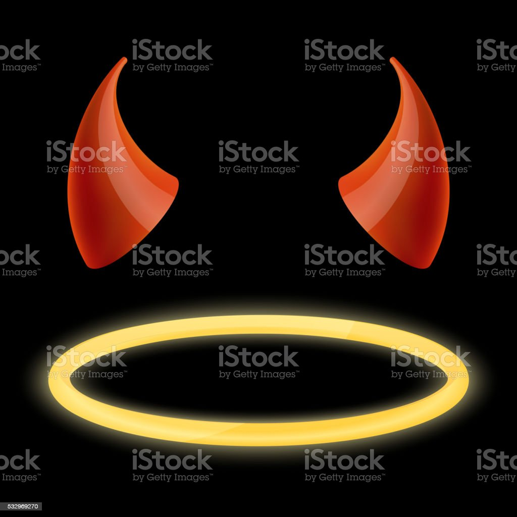 Devil horns and angel halo. Vector illustration
