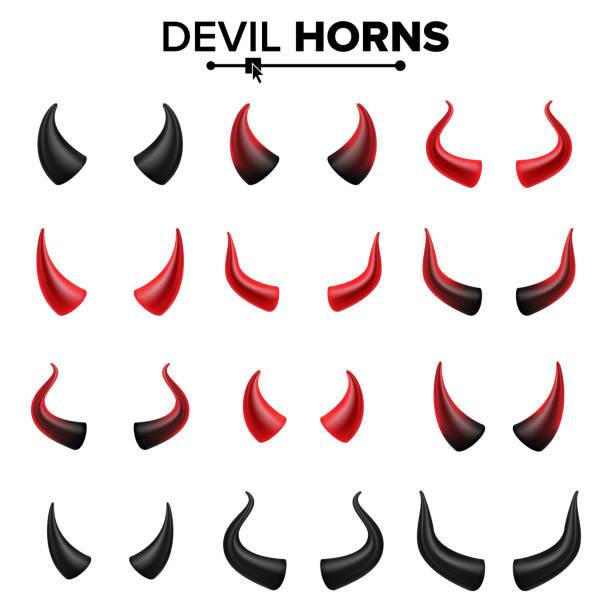 Devil Horns Set Vector. Good For Halloween Party. Satan Horns Symbol Isolated Illustration Devil Horns Vector. Demon Or Satan Horns Symbol, Sign, Icon. Isolated horned stock illustrations