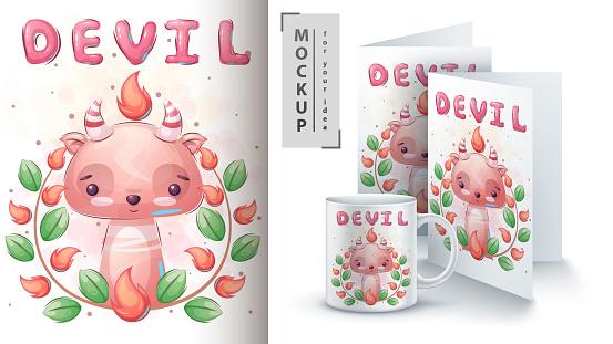 Devil in flower poster and merchandising