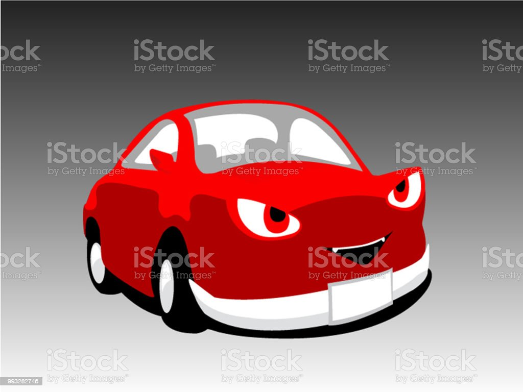 ilustração de carro de desenho animado vermelho monstro diabo bonito