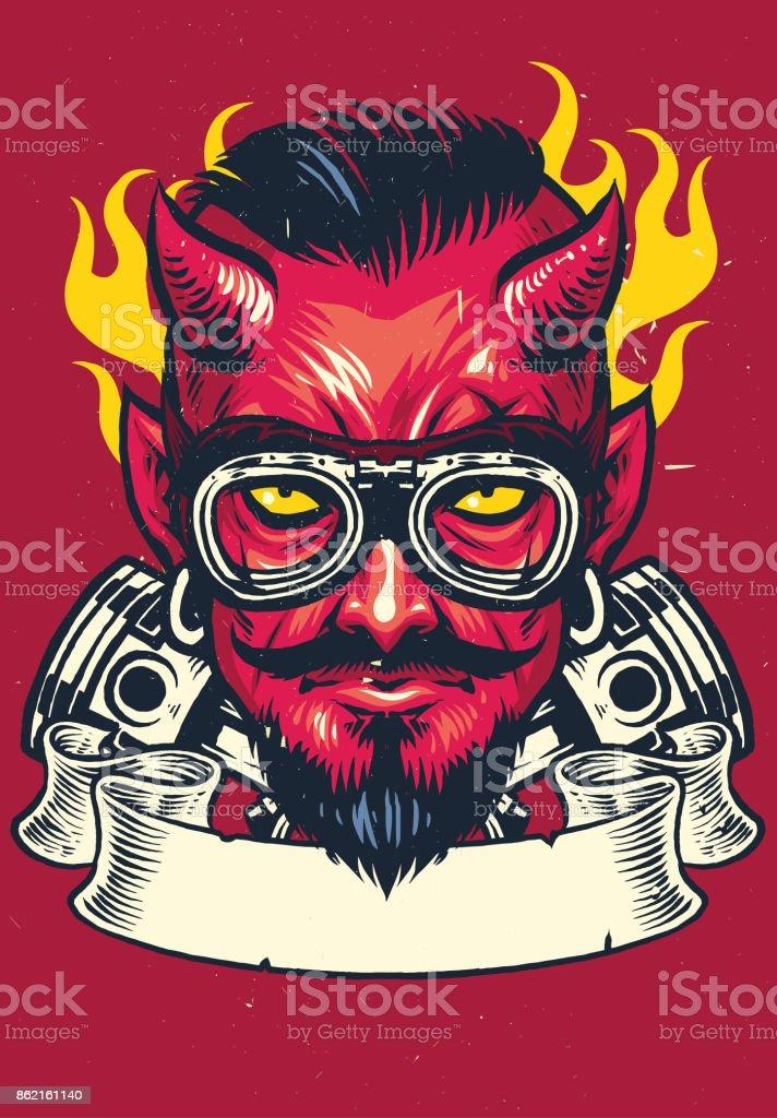 devil rider vector art illustration