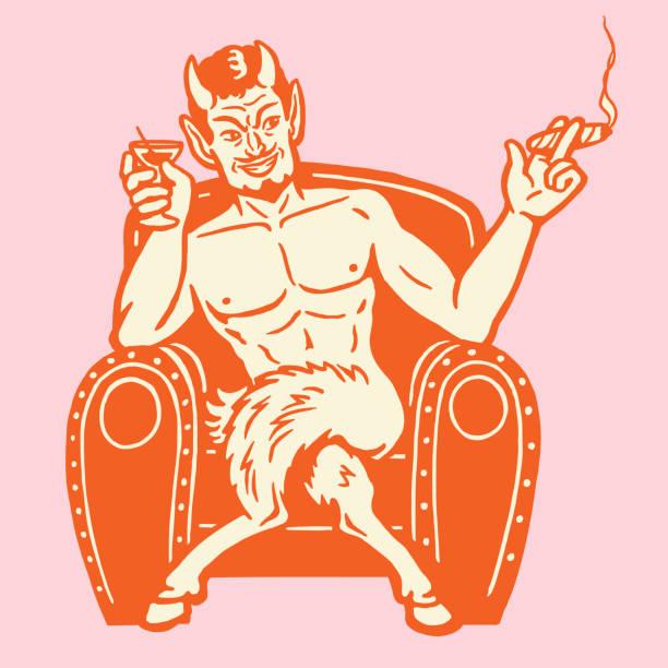 devil rauchen und trinken - stuhllehnen stock-grafiken, -clipart, -cartoons und -symbole