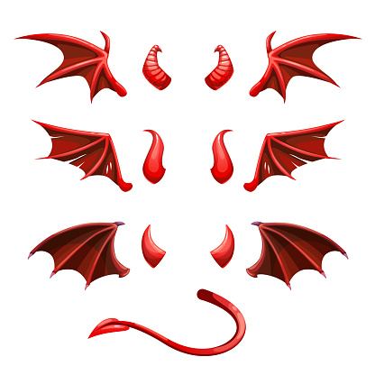Devil tail, horns and wings. Demonic red elements for the photo decoration