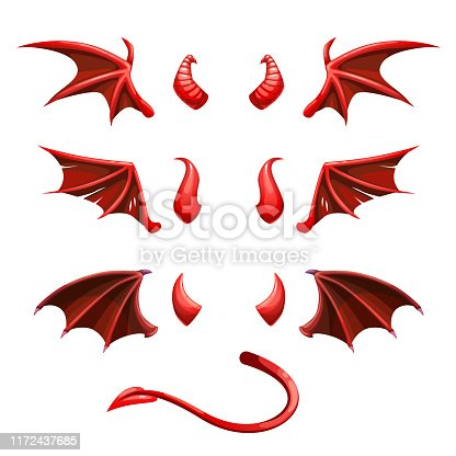 Devil tail, horns and wings. Demonic red elements for the photo decoration. Vector illustration.