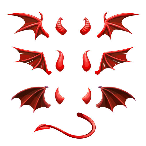 Devil tail, horns and wings. Demonic red elements for the photo decoration Devil tail, horns and wings. Demonic red elements for the photo decoration. Vector illustration. horned stock illustrations