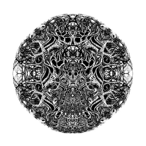 Devil Trap Mandala Stipple vector of a Devil Trap Mandala voodoo stock illustrations