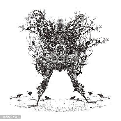 Engraving illustration of a Devil Trap Voodoo Doll