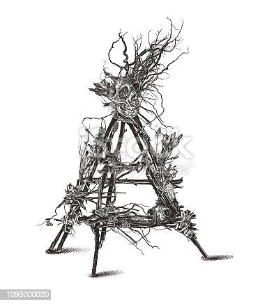 Engraving illustration of a Devil Trap Voodoo Doll with skulls