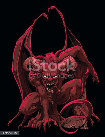 Mythological character — supreme demon of the Hell, lord of the Darkness — a Devil (Satan, Lucifer).
