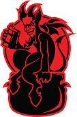 Devil with a mug of beer