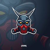 Devil with mask mascot logo design vector with modern illustration concept style for badge, emblem and t shirt printing. Angry Devil illustration for sport and e-sport team.