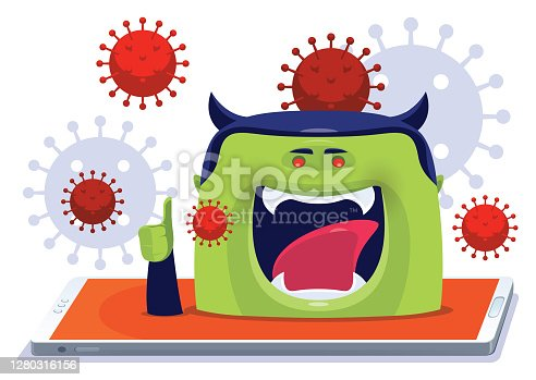 istock devil with virus emerging from smartphone 1280316156