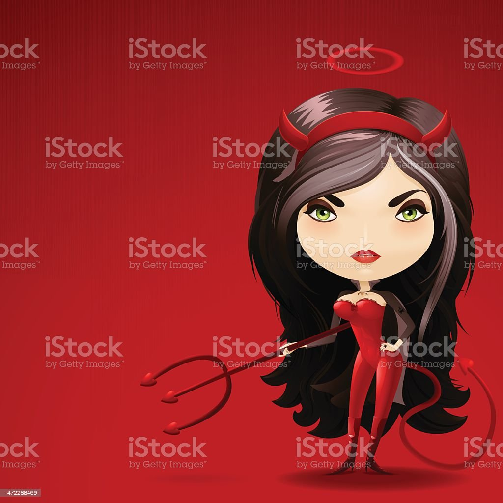 Devil Woman - Very detailed royalty-free stock vector art
