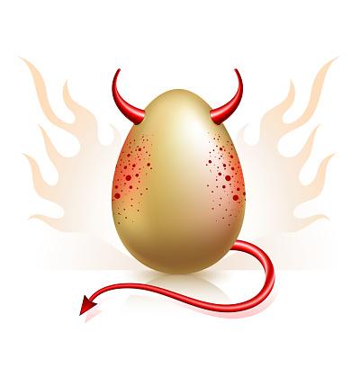Deviled Egg on Flaming Fire Background