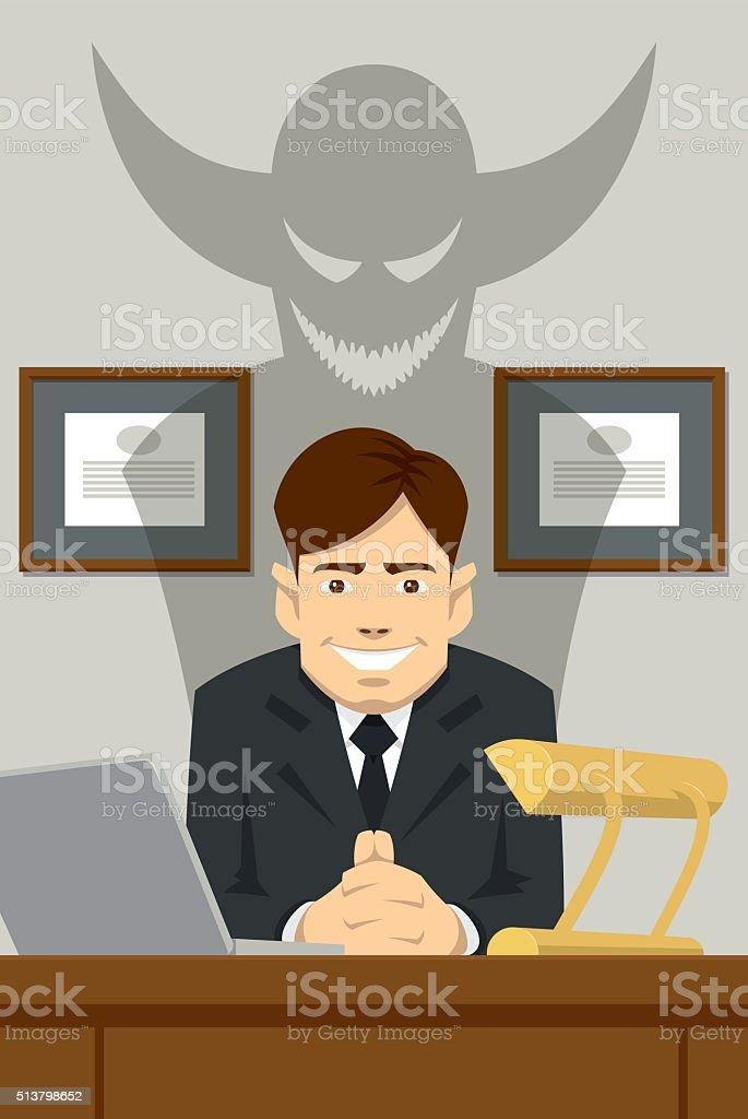 Devilish boss sitting behind the desk vector art illustration