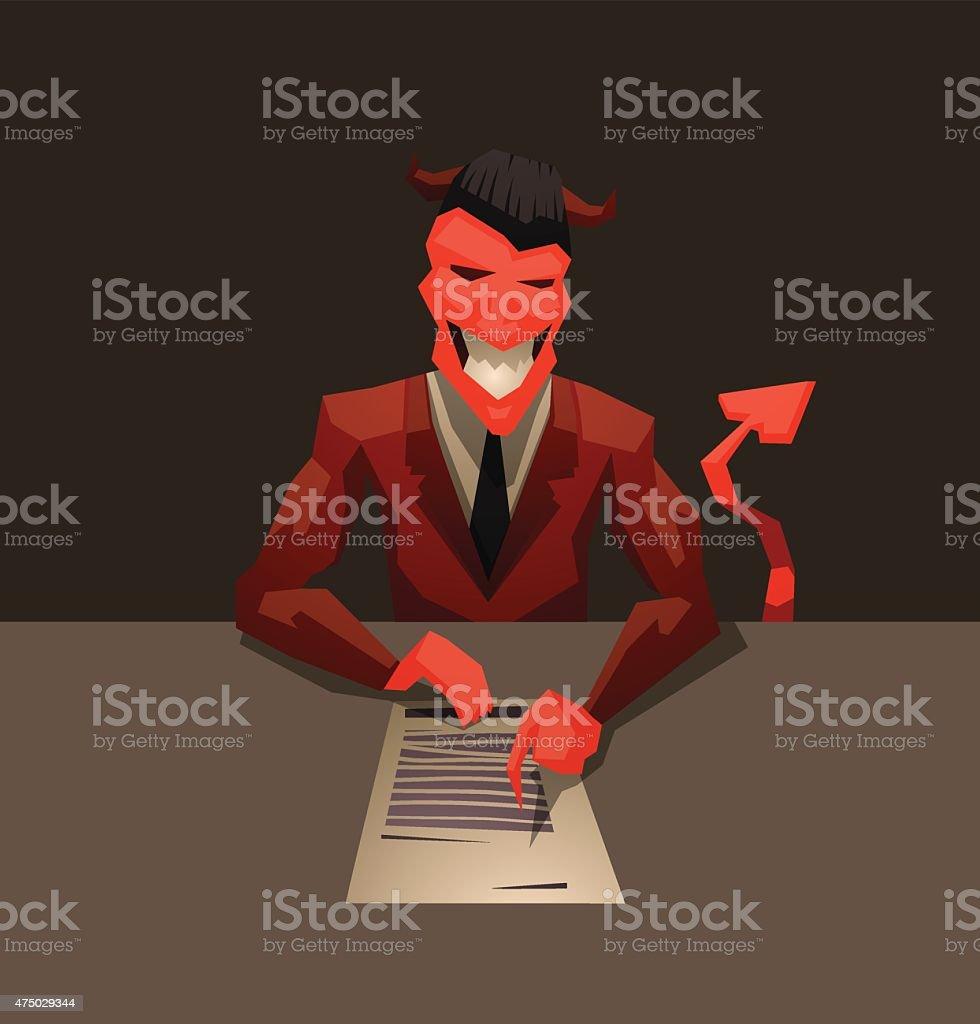 Devil's contract vector art illustration