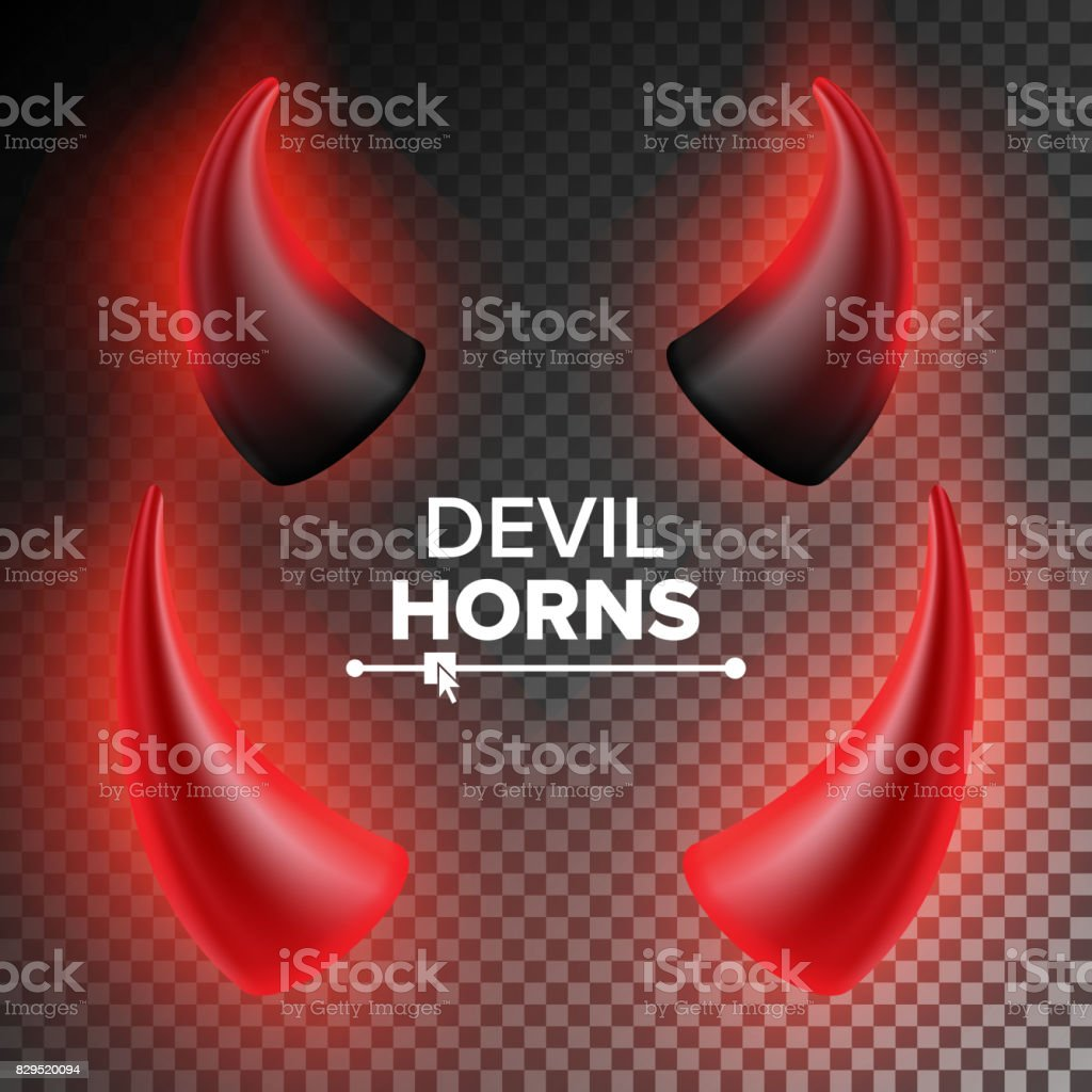Devils Horns Vector. Red Luminous Horn. Realistic Red And Black Devil Horns Set. Isolated On Transparent Illustration royalty-free devils horns vector red luminous horn realistic red and black devil horns set isolated on transparent illustration stock illustration - download image now
