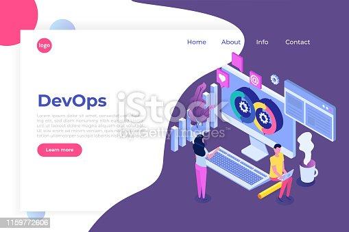 Devops concept. Application development, building.  API prototyping, programming and testing. Vector isometric illustration